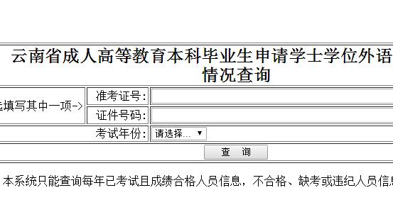 云南省学位办网站学位英语成绩查询入口